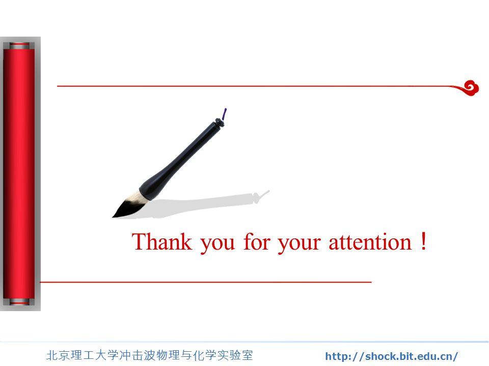 北京理工大学冲击波物理与化学实验室 http://shock.bit.edu.cn/ Thank you for your attention !