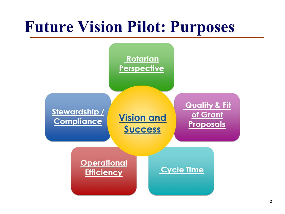 Future Vision Pilot: Purposes Stewardship / Compliance Rotarian Perspective Quality & Fit of Grant Proposals Cycle Time Operational Efficiency Vision and Success 2
