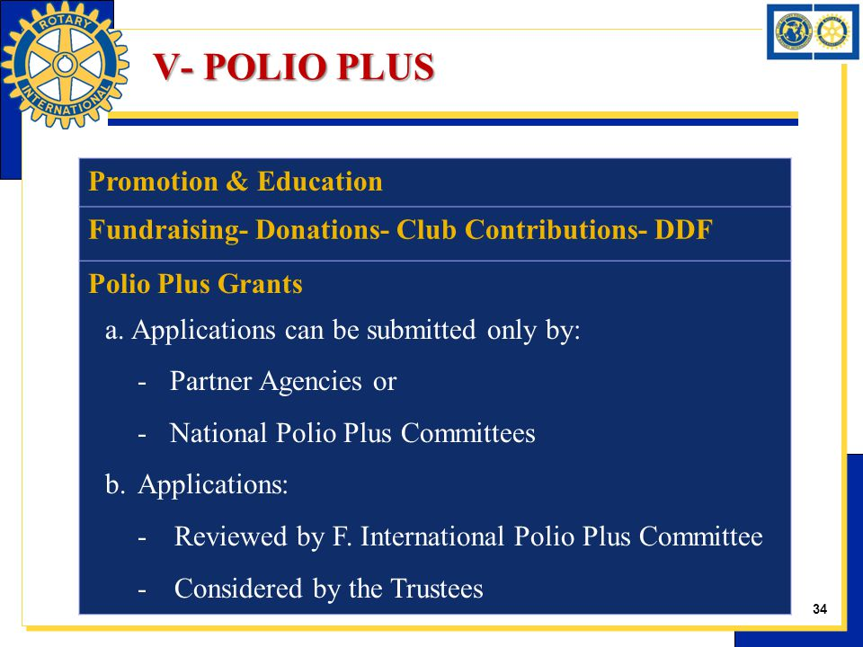 Promotion & Education Fundraising- Donations- Club Contributions- DDF Polio Plus Grants a.Applications can be submitted only by: -Partner Agencies or