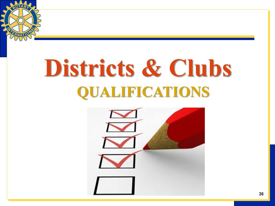 Districts & Clubs QUALIFICATIONS 36