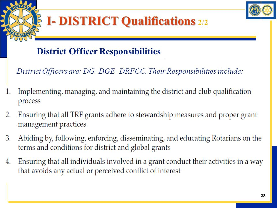 District Officer Responsibilities District Officers are: DG- DGE- DRFCC. Their Responsibilities include: 38 I- DISTRICT Qualifications I- DISTRICT Qua