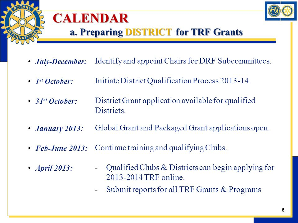 CALENDAR a. Preparing DISTRICT for TRF Grants July-December: Identify and appoint Chairs for DRF Subcommittees. 1 st October: Initiate District Qualif