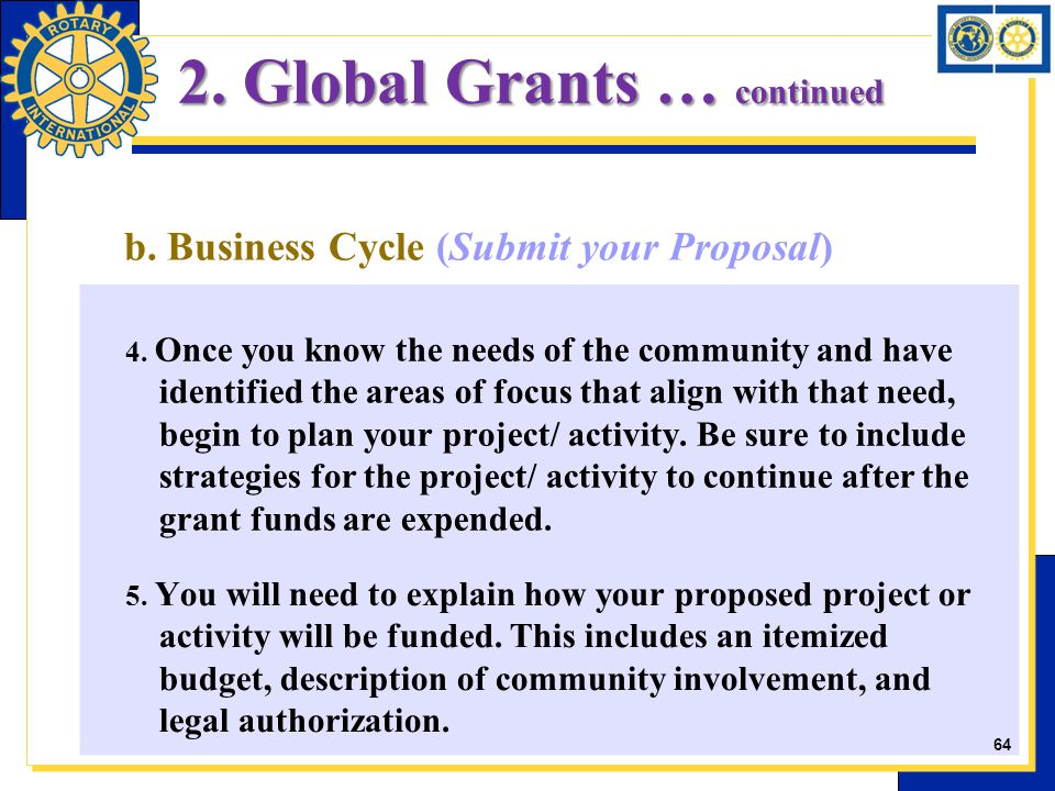 b. Business Cycle (Submit your Proposal) 4. Once you know the needs of the community and have identified the areas of focus that align with that need,