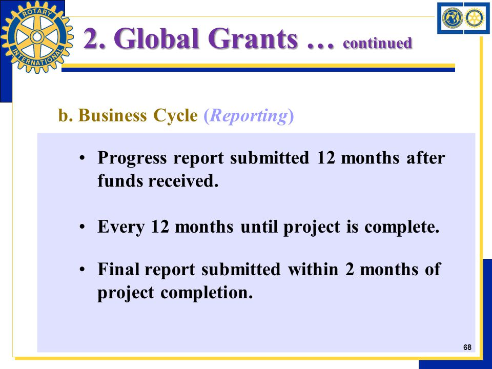 b. Business Cycle (Reporting) Progress report submitted 12 months after funds received. Every 12 months until project is complete. Final report submit