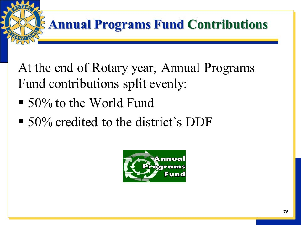 Annual Programs Fund Contributions At the end of Rotary year, Annual Programs Fund contributions split evenly:  50% to the World Fund  50% credited to the district's DDF 10 75