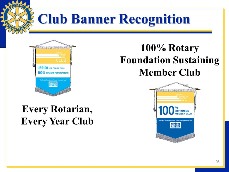 Club Banner Recognition Club Banner Recognition 100% Rotary Foundation Sustaining Member Club Every Rotarian, Every Year Club 22 93