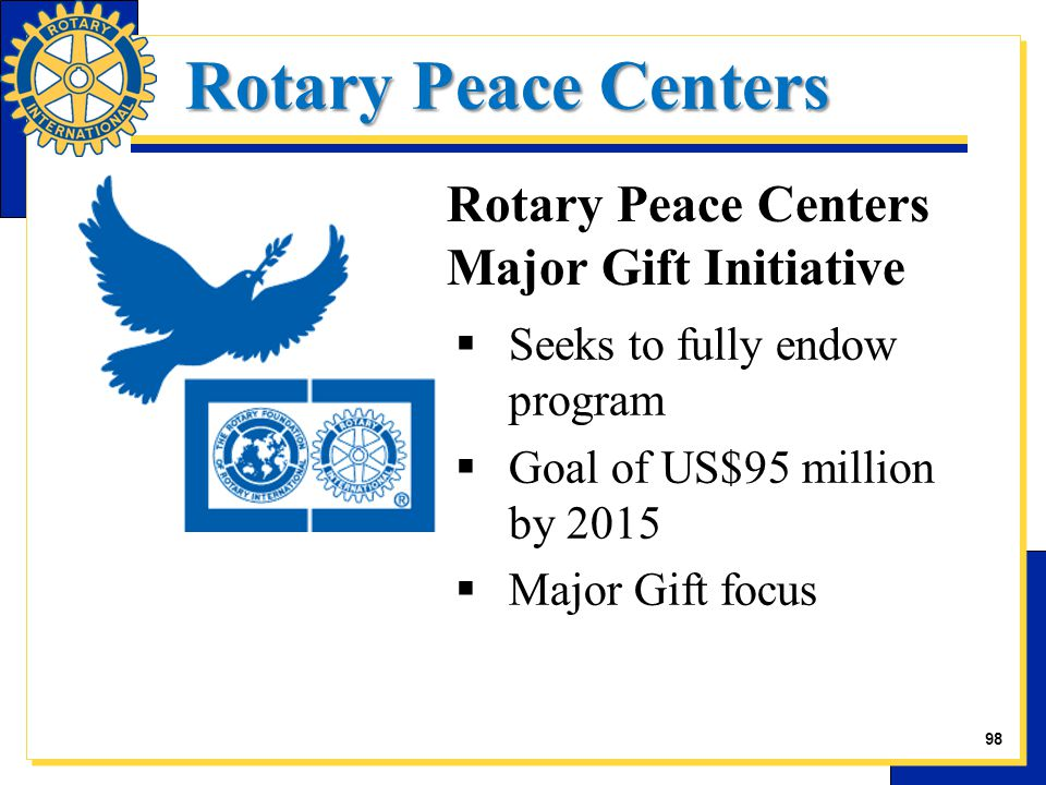 Rotary Peace Centers  Seeks to fully endow program  Goal of US$95 million by 2015  Major Gift focus Rotary Peace Centers Major Gift Initiative 27 98