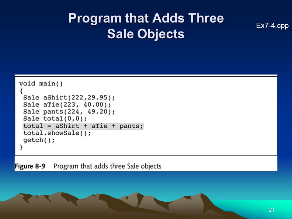 21 Program that Adds Three Sale Objects Ex7-4.cpp