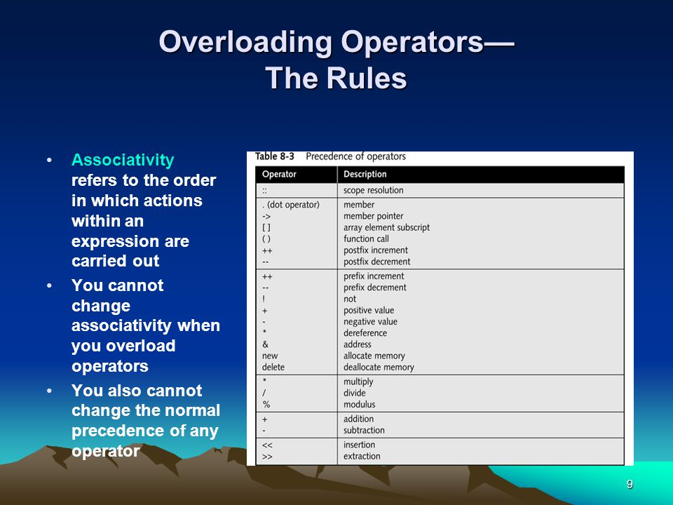 9 Overloading Operators— The Rules Associativity refers to the order in which actions within an expression are carried out You cannot change associativity when you overload operators You also cannot change the normal precedence of any operator