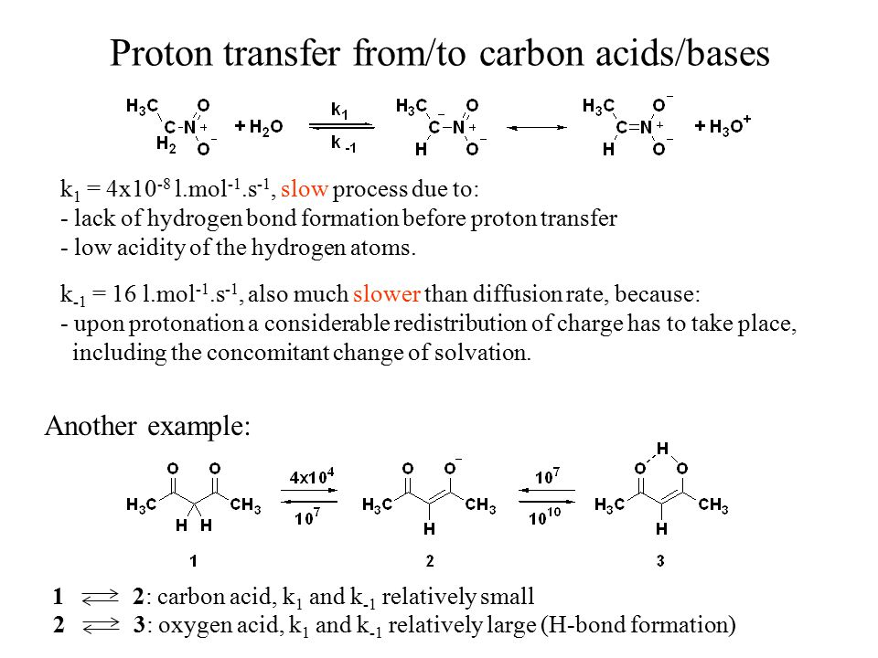 Proton transfer from/to carbon acids/bases k 1 = 4x10 -8 l.mol -1.s -1, slow process due to: - lack of hydrogen bond formation before proton transfer
