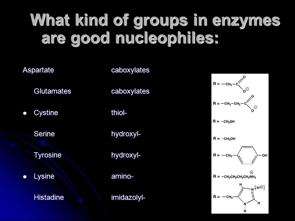 What kind of groups in enzymes are good nucleophiles: Aspartate caboxylates Glutamates caboxylates Cystinethiol- Cystinethiol- Serinehydroxyl- Tyrosin