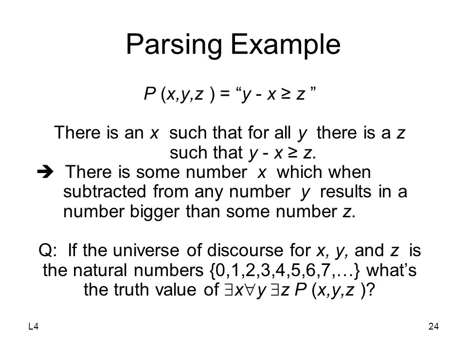 "L424 Parsing Example P (x,y,z ) = ""y - x ≥ z "" There is an x such that for all y there is a z such that y - x ≥ z.  There is some number x which when"