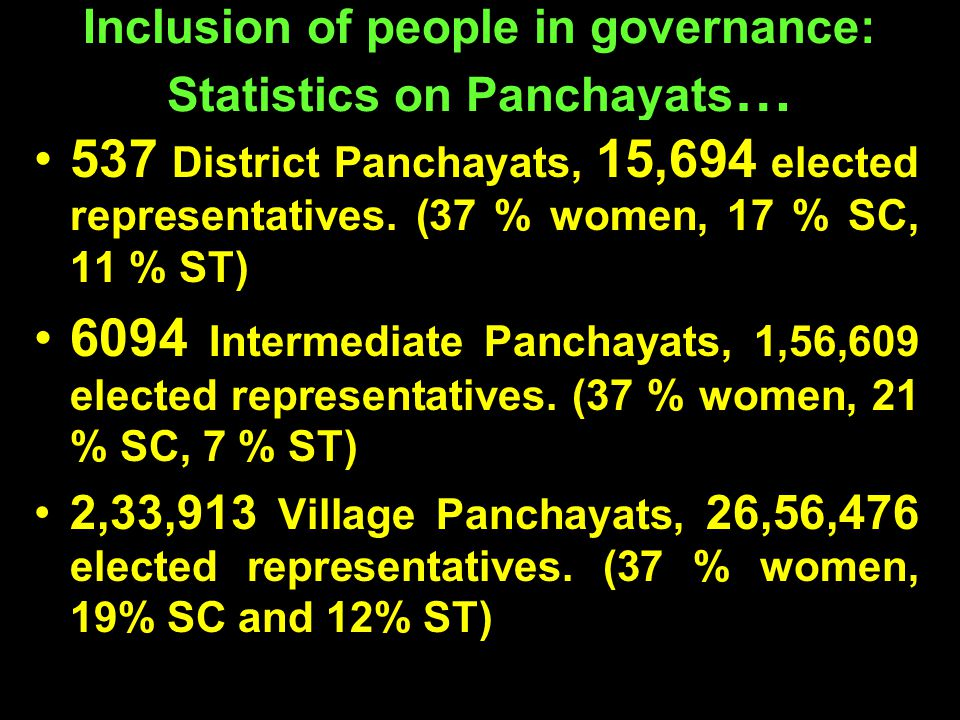 Inclusion of people in governance: Statistics on Panchayats … 537 District Panchayats, 15,694 elected representatives. (37 % women, 17 % SC, 11 % ST)