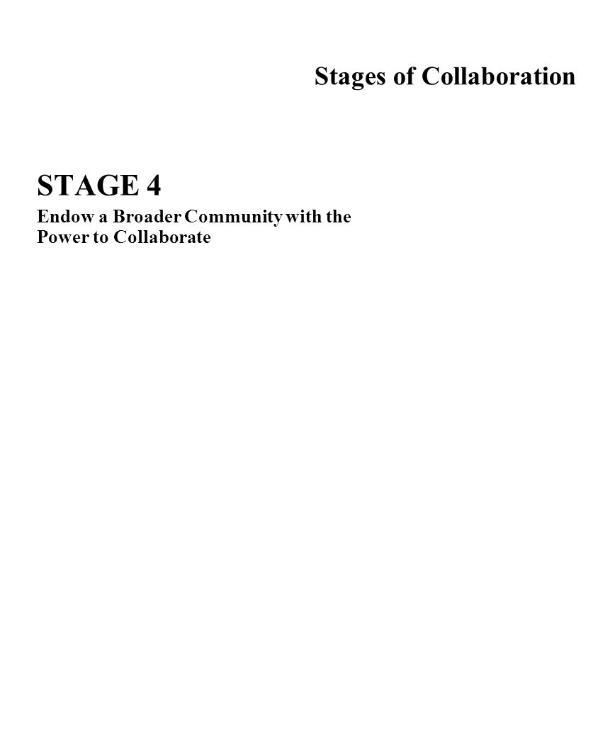 Stages of Collaboration STAGE 4 Endow a Broader Community with the Power to Collaborate Challenges:Create Visibility Involve the Community End the Col