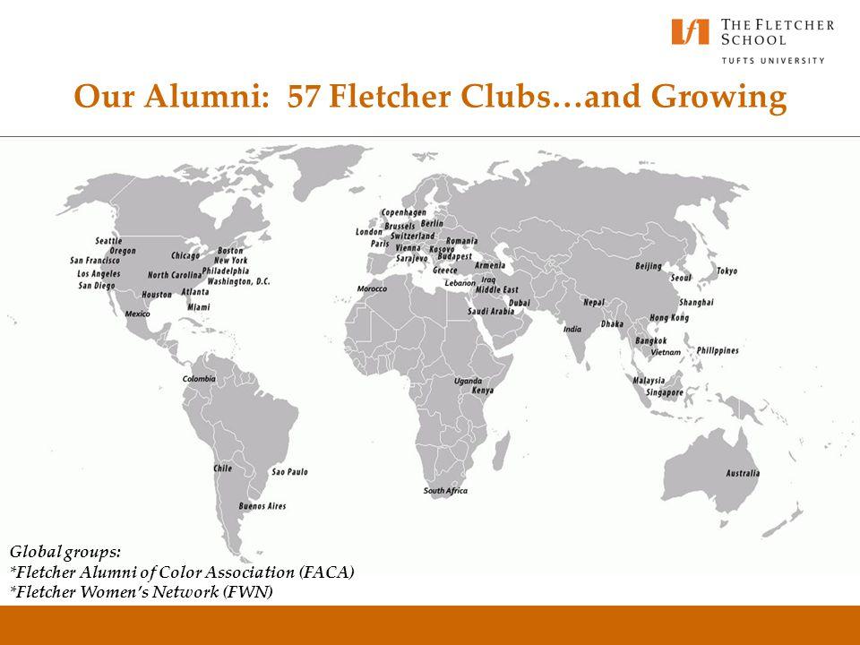 Our Alumni: 57 Fletcher Clubs…and Growing Global groups: *Fletcher Alumni of Color Association (FACA) *Fletcher Women's Network (FWN)