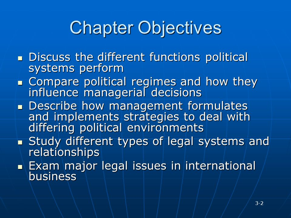 Chapter Objectives Discuss the different functions political systems perform Discuss the different functions political systems perform Compare politic
