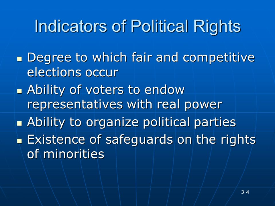 Indicators of Political Rights Degree to which fair and competitive elections occur Degree to which fair and competitive elections occur Ability of vo