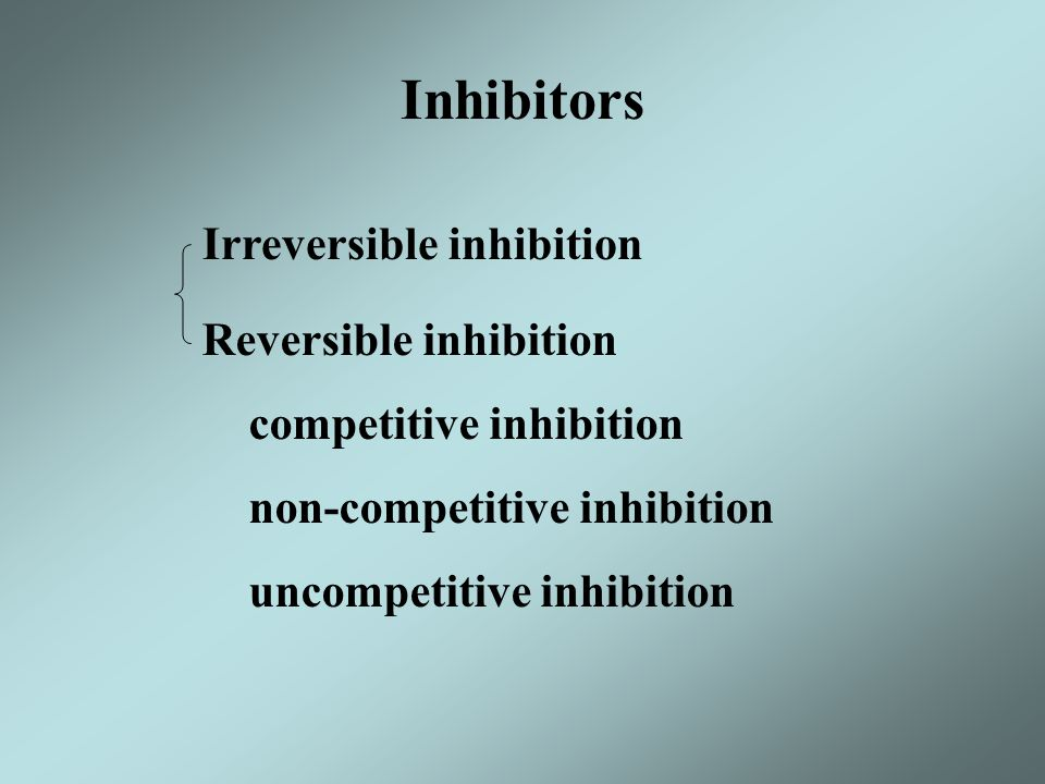 Inhibitors Irreversible inhibition Reversible inhibition competitive inhibition non-competitive inhibition uncompetitive inhibition