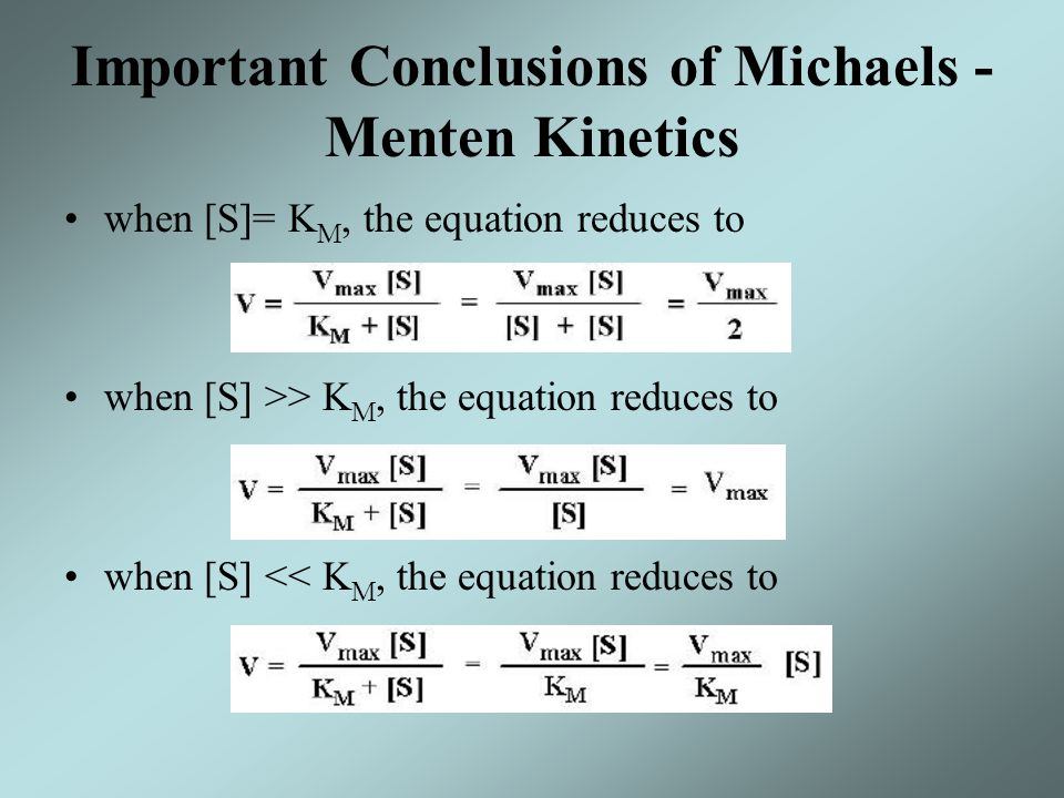 Important Conclusions of Michaels - Menten Kinetics when [S]= K M, the equation reduces to when [S] >> K M, the equation reduces to when [S] << K M, t