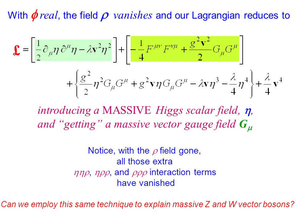 £ With  real, the field  vanishes and our Lagrangian reduces to introducing a MASSIVE Higgs scalar field, , and getting a massive vector gauge field G  Notice, with the  field gone, all those extra , , and  interaction terms have vanished Can we employ this same technique to explain massive Z and W vector bosons