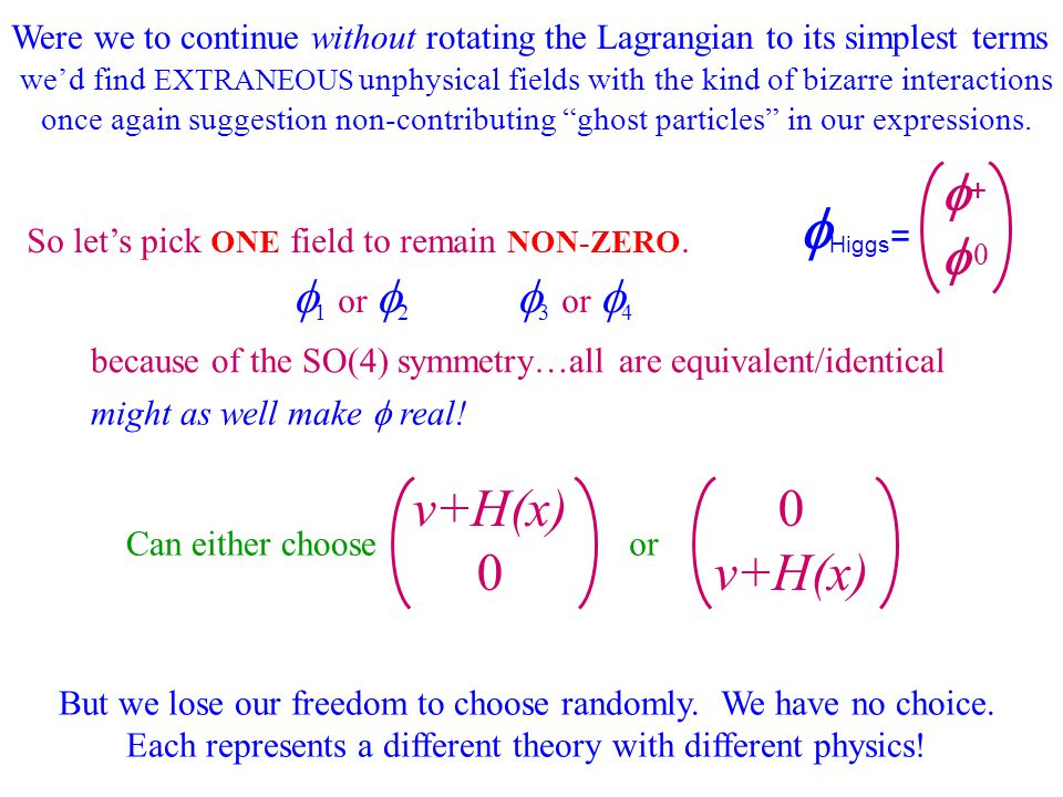 Were we to continue without rotating the Lagrangian to its simplest terms we'd find EXTRANEOUS unphysical fields with the kind of bizarre interactions once again suggestion non-contributing ghost particles in our expressions.