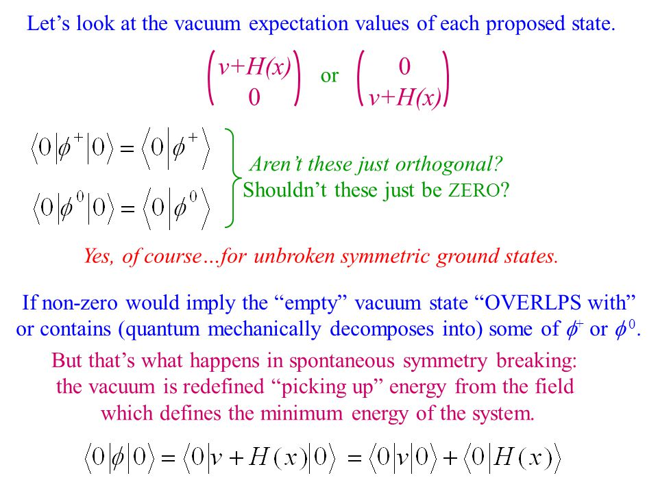 Let's look at the vacuum expectation values of each proposed state.
