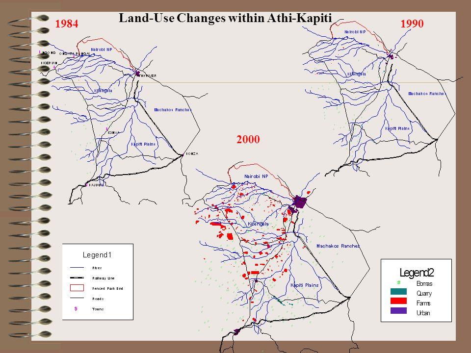 19841990 2000 Bomas # Quarry Farms Urban Legend2 Land-Use Changes within Athi-Kapiti
