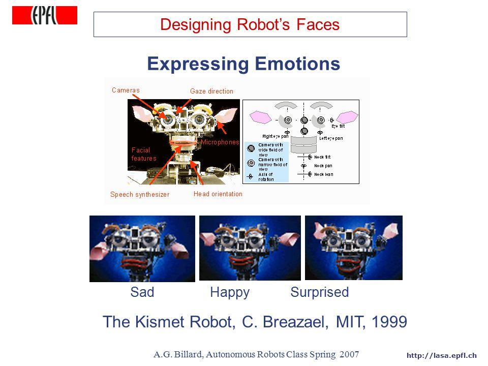 http://lasa.epfl.ch A.G. Billard, Autonomous Robots Class Spring 2007 Expressing Emotions The Kismet Robot, C. Breazael, MIT, 1999 Sad Happy Surprised