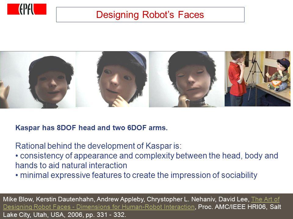 http://lasa.epfl.ch A.G. Billard, Autonomous Robots Class Spring 2007 Designing Robot's Faces Mike Blow, Kerstin Dautenhahn, Andrew Appleby, Chrystoph