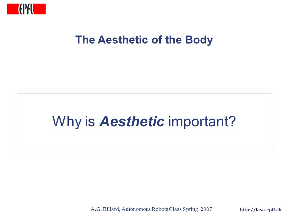 http://lasa.epfl.ch A.G. Billard, Autonomous Robots Class Spring 2007 The Aesthetic of the Body Why is Aesthetic important?