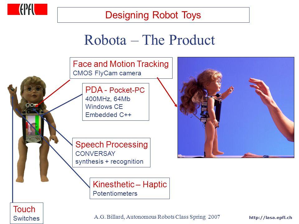 http://lasa.epfl.ch A.G. Billard, Autonomous Robots Class Spring 2007 PDA - Pocket-PC 400MHz, 64Mb Windows CE Embedded C++ Speech Processing CONVERSAY