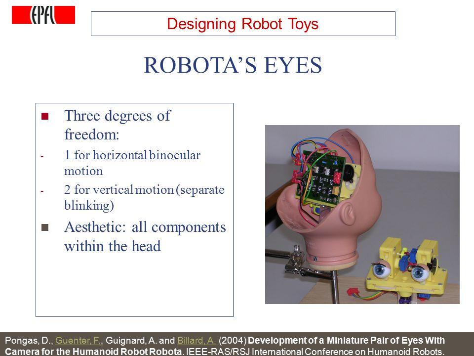http://lasa.epfl.ch A.G. Billard, Autonomous Robots Class Spring 2007 Three degrees of freedom: - 1 for horizontal binocular motion - 2 for vertical m