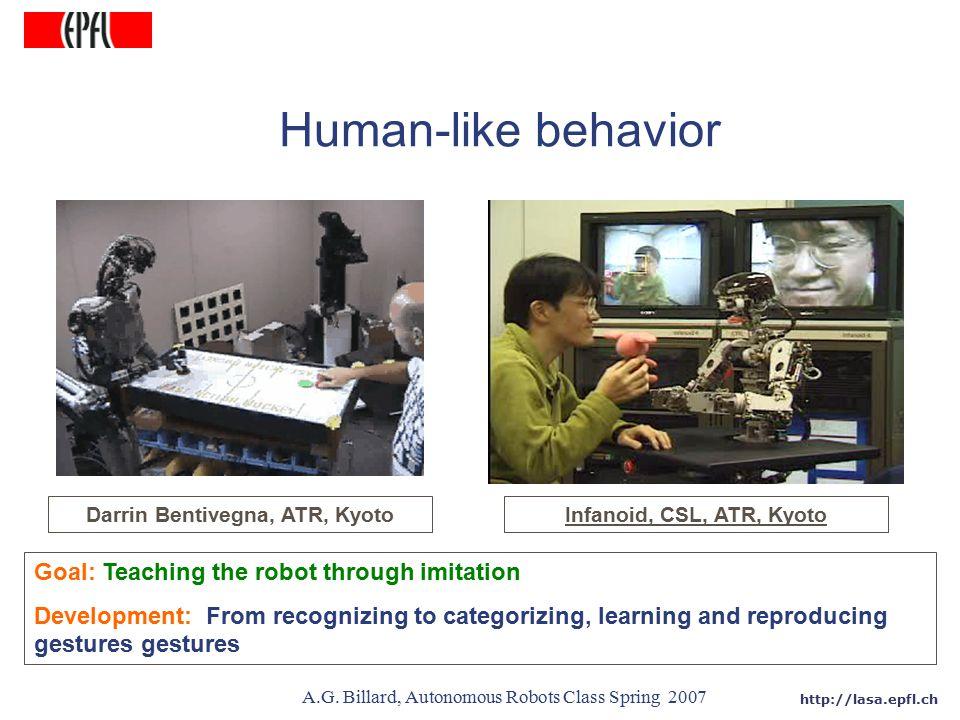 http://lasa.epfl.ch A.G. Billard, Autonomous Robots Class Spring 2007 Goal: Teaching the robot through imitation Development: From recognizing to cate