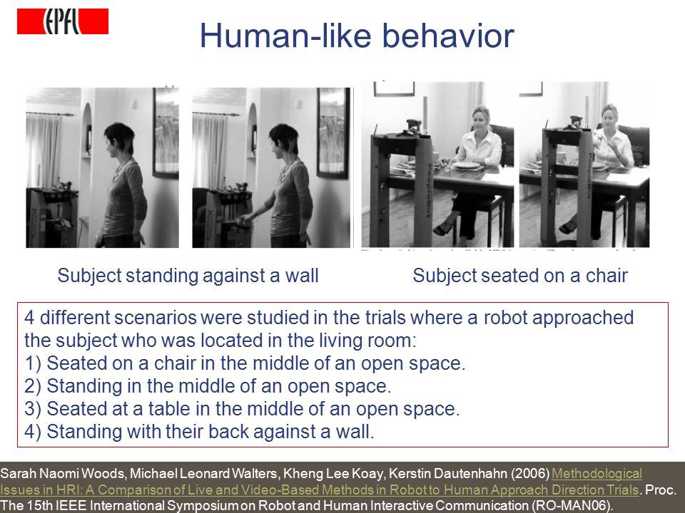 http://lasa.epfl.ch A.G. Billard, Autonomous Robots Class Spring 2007 4 different scenarios were studied in the trials where a robot approached the su