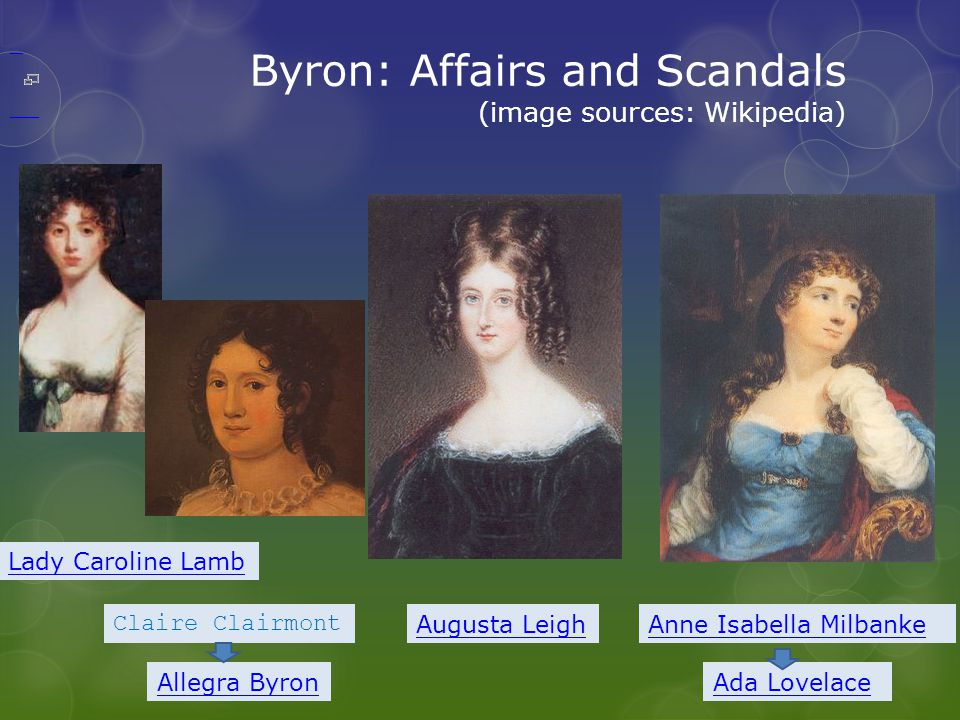 Byron: Affairs and Scandals (image sources: Wikipedia) Lady Caroline Lamb Augusta LeighAnne Isabella Milbanke Ada Lovelace Claire Clairmont Allegra Byron