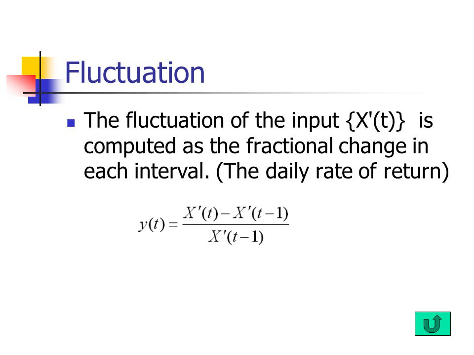 Fluctuation The fluctuation of the input {X'(t)} is computed as the fractional change in each interval. (The daily rate of return)