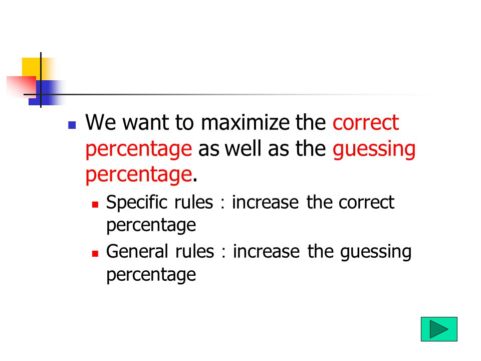 We want to maximize the correct percentage as well as the guessing percentage.