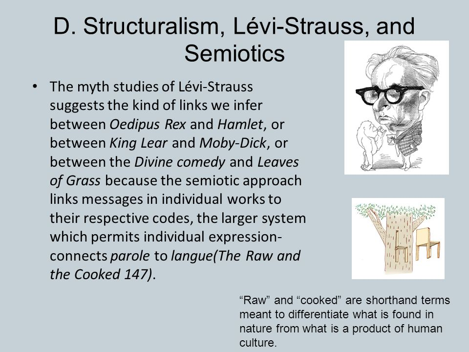 D. Structuralism, Lévi-Strauss, and Semiotics The myth studies of Lévi-Strauss suggests the kind of links we infer between Oedipus Rex and Hamlet, or