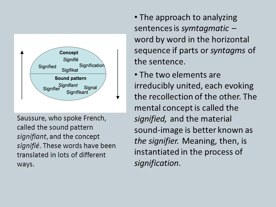 The approach to analyzing sentences is symtagmatic – word by word in the horizontal sequence if parts or syntagms of the sentence. The two elements ar