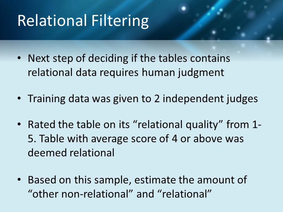Relational Filtering Next step of deciding if the tables contains relational data requires human judgment Training data was given to 2 independent jud