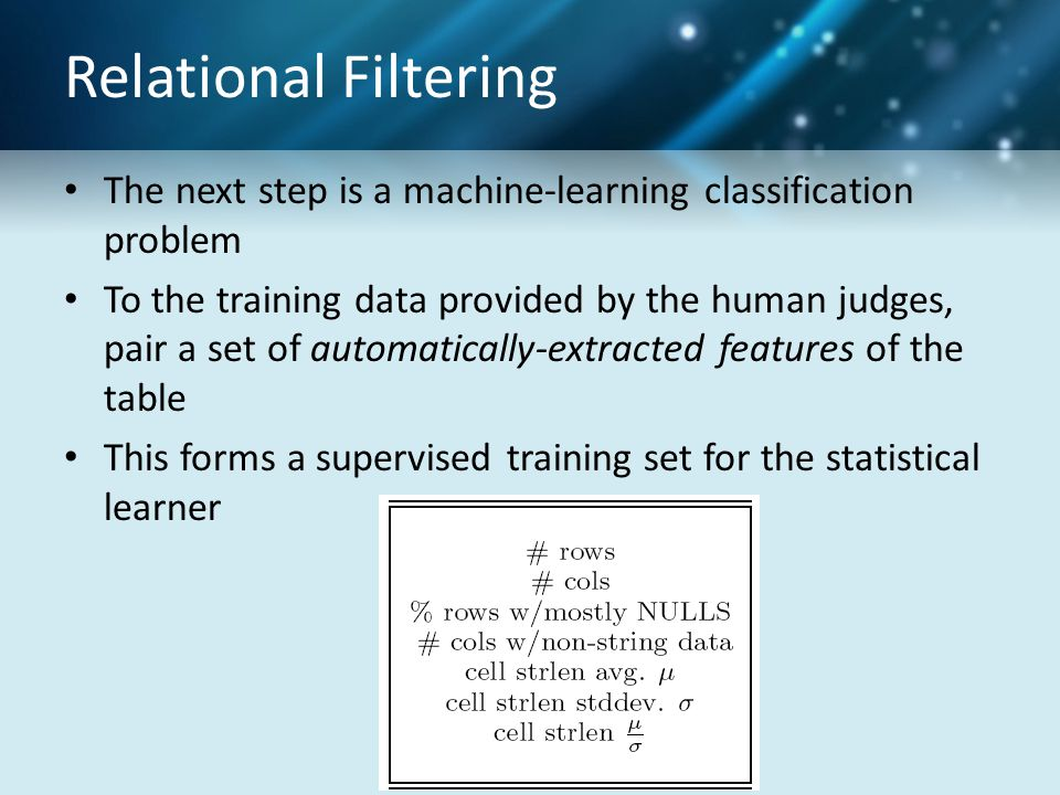 Relational Filtering The next step is a machine-learning classification problem To the training data provided by the human judges, pair a set of automatically-extracted features of the table This forms a supervised training set for the statistical learner