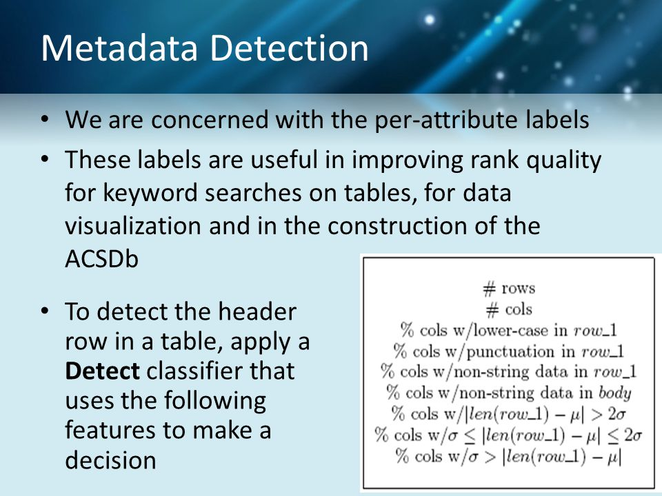 Metadata Detection We are concerned with the per-attribute labels These labels are useful in improving rank quality for keyword searches on tables, fo