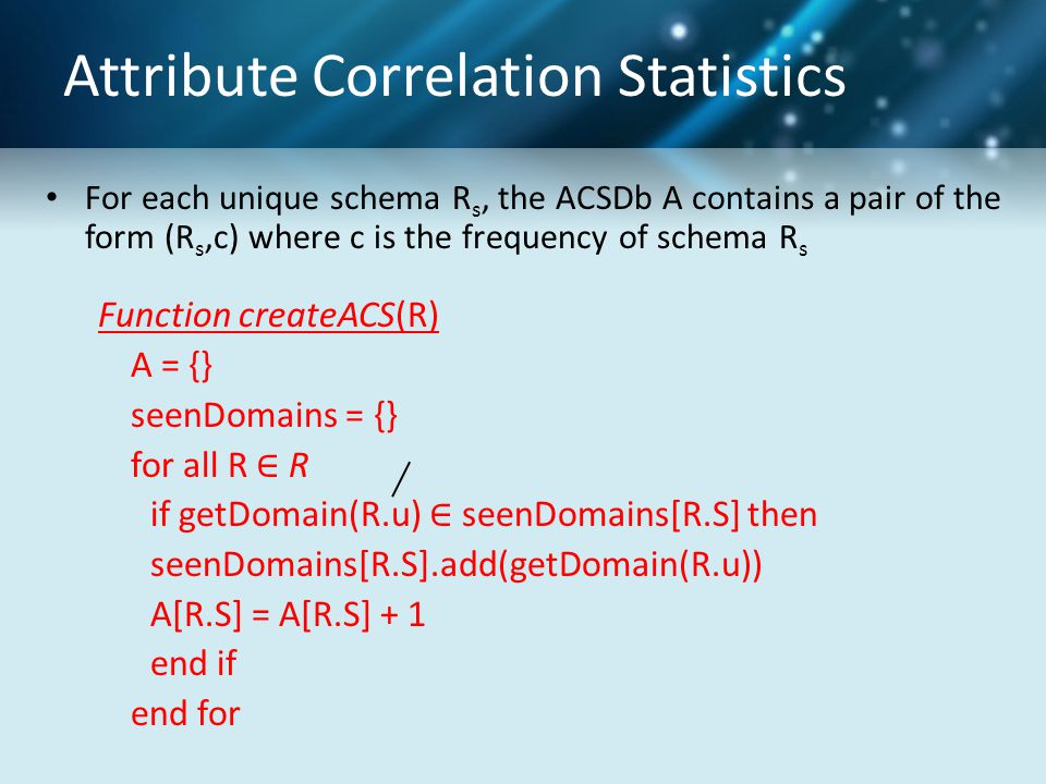 Attribute Correlation Statistics For each unique schema R s, the ACSDb A contains a pair of the form (R s,c) where c is the frequency of schema R s Fu