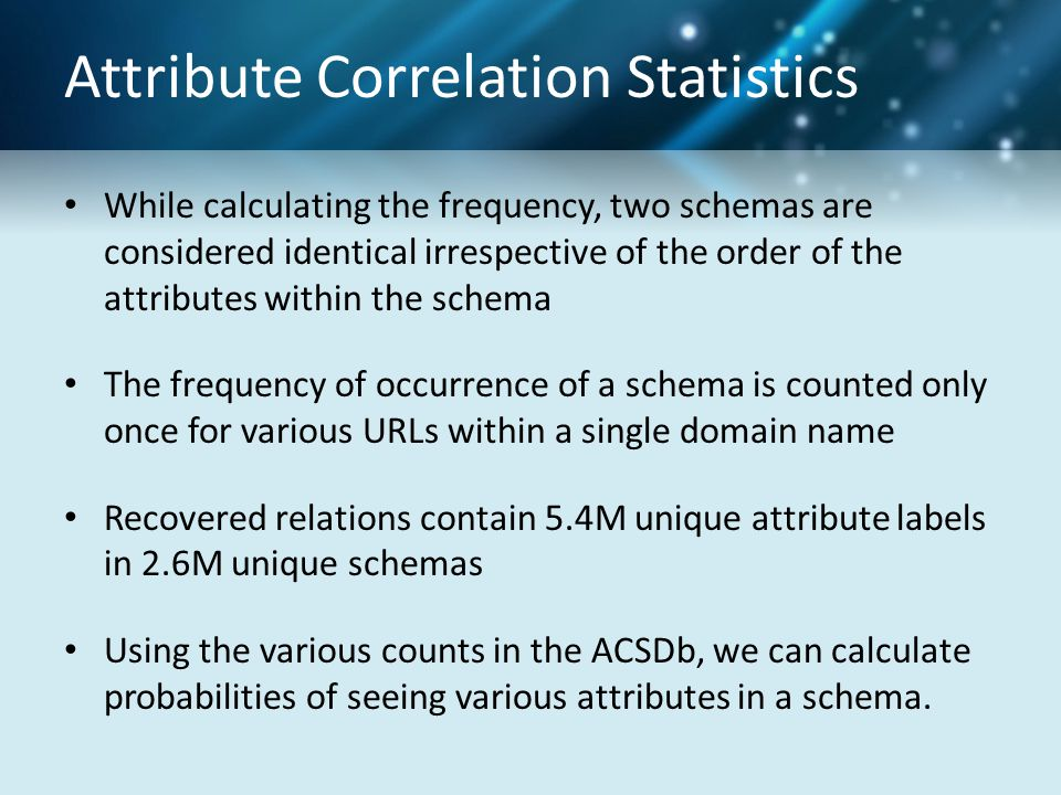 Attribute Correlation Statistics While calculating the frequency, two schemas are considered identical irrespective of the order of the attributes within the schema The frequency of occurrence of a schema is counted only once for various URLs within a single domain name Recovered relations contain 5.4M unique attribute labels in 2.6M unique schemas Using the various counts in the ACSDb, we can calculate probabilities of seeing various attributes in a schema.