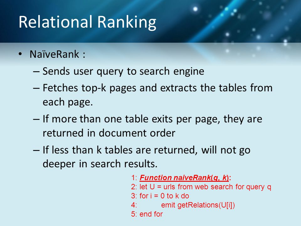 Relational Ranking NaïveRank : – Sends user query to search engine – Fetches top-k pages and extracts the tables from each page. – If more than one ta