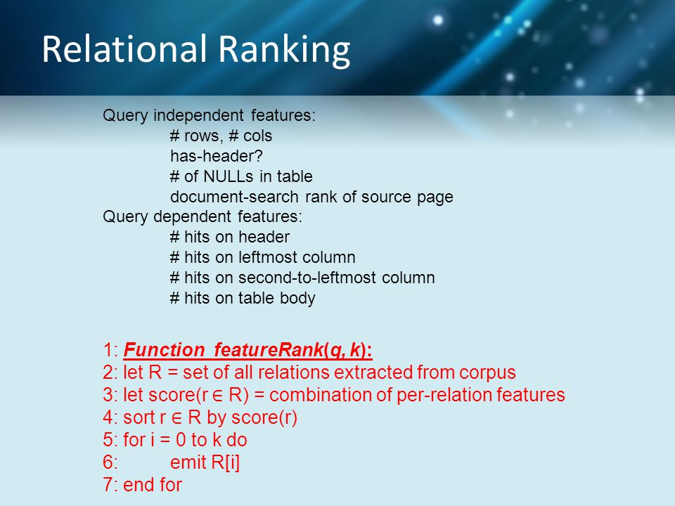 Relational Ranking 1: Function featureRank(q, k): 2: let R = set of all relations extracted from corpus 3: let score(r ∈ R) = combination of per-relation features 4: sort r ∈ R by score(r) 5: for i = 0 to k do 6: emit R[i] 7: end for Query independent features: # rows, # cols has-header.