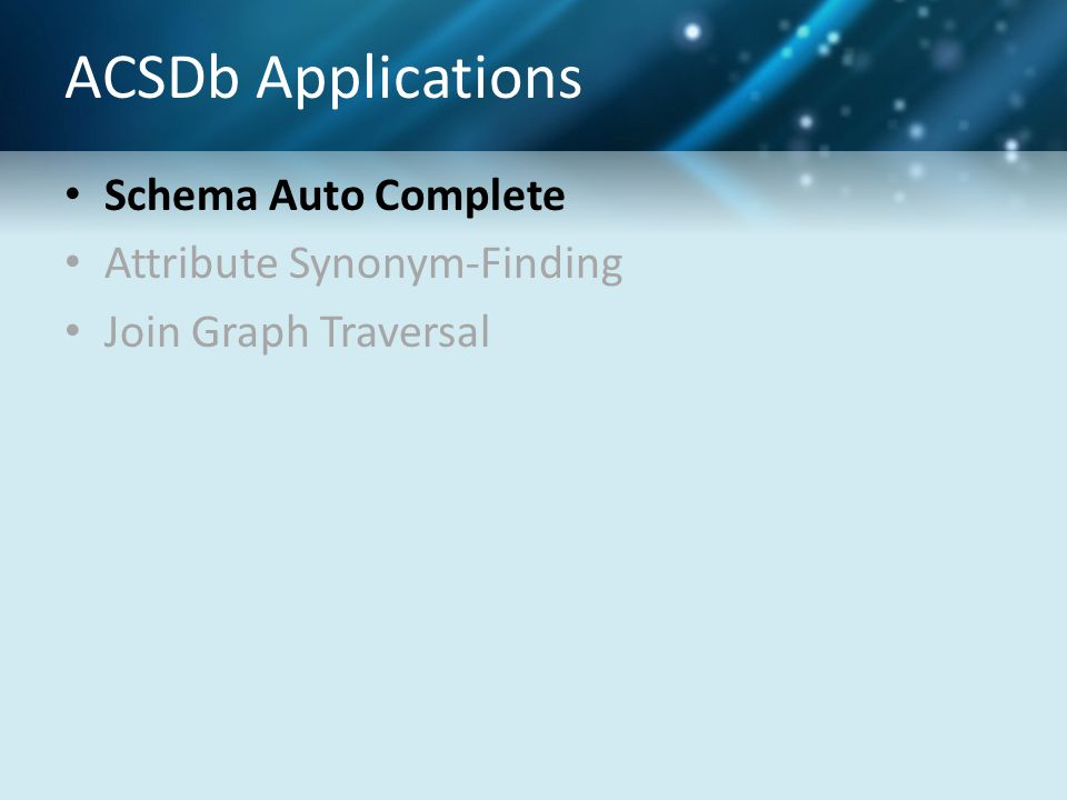 ACSDb Applications Schema Auto Complete Attribute Synonym-Finding Join Graph Traversal