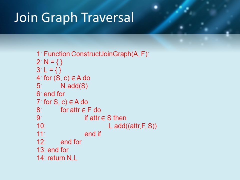 Join Graph Traversal 1: Function ConstructJoinGraph(A, F): 2: N = { } 3: L = { } 4: for (S, c) ∈ A do 5: N.add(S) 6: end for 7: for S, c) ∈ A do 8: for attr ∈ F do 9: if attr ∈ S then 10: L.add((attr,F, S)) 11: end if 12: end for 13: end for 14: return N,L
