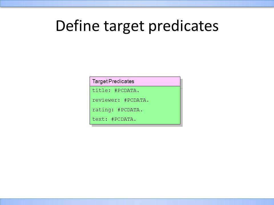 Target Predicates Define target predicates title: #PCDATA.