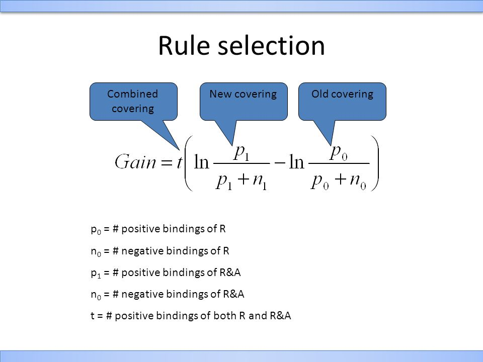 Rule selection p 0 = # positive bindings of R n 0 = # negative bindings of R p 1 = # positive bindings of R&A n 0 = # negative bindings of R&A t = # positive bindings of both R and R&A New coveringOld coveringCombined covering
